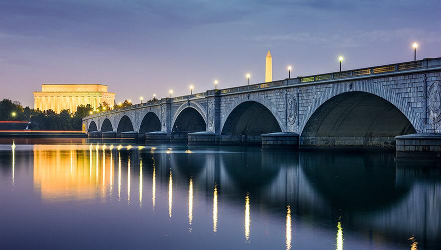 Bridge over water in Washington DC