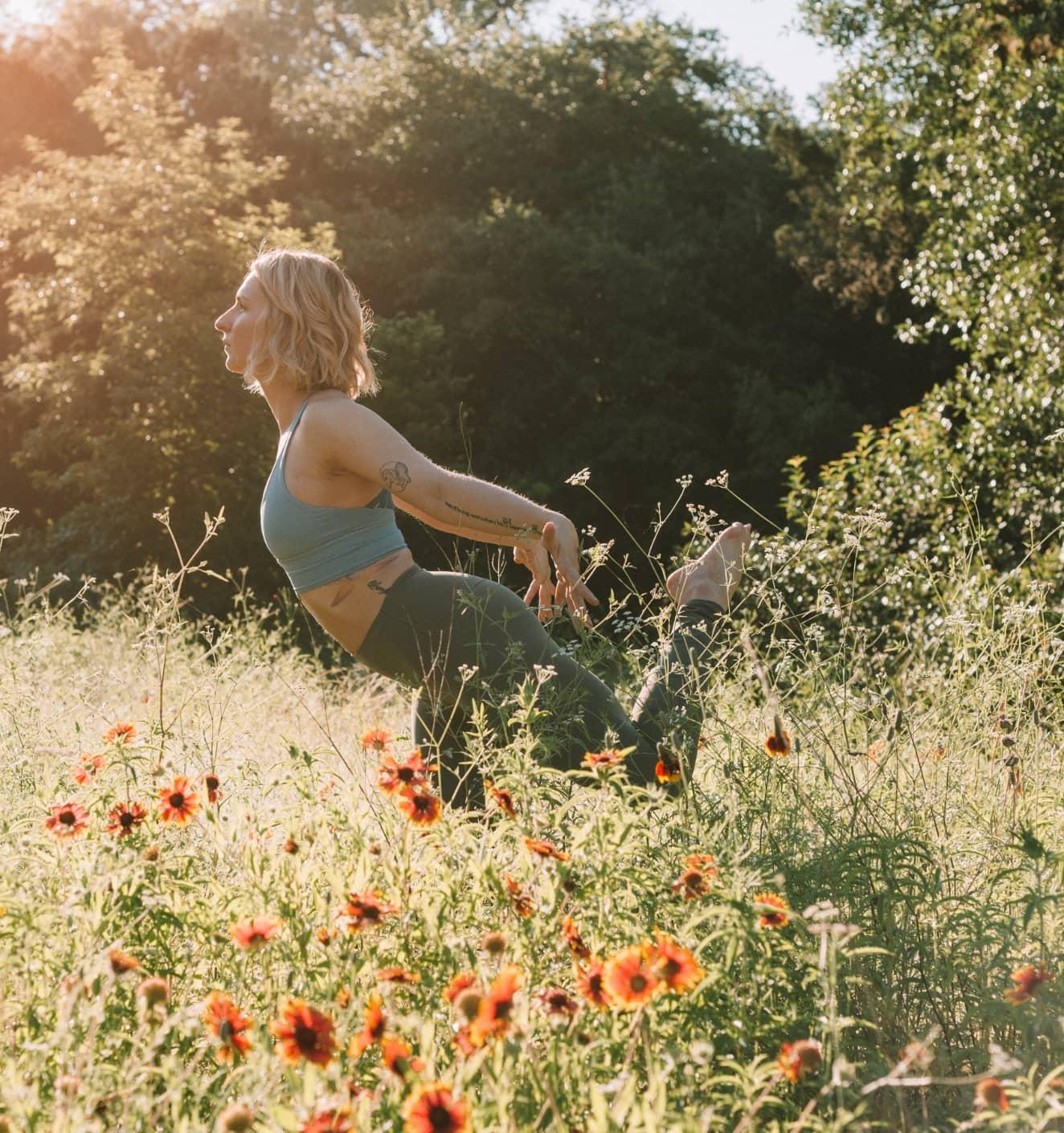 Francesca in a yoga post