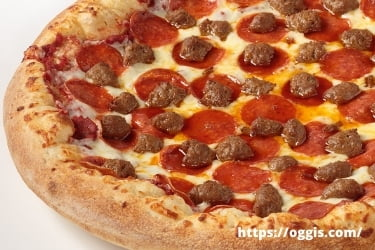 Oggi's pepperoni with Italian sausage pizza