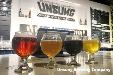 Different beers from Unsung Brewing Company