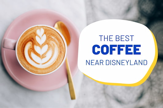Pink cup of cappuccino with latte art - The Best Coffee near Disneyland