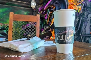 Cup of coffee at Requiem Coffee, Tea & Fantasy
