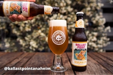 Ballast Point Brewing Co beer pouring in a glass