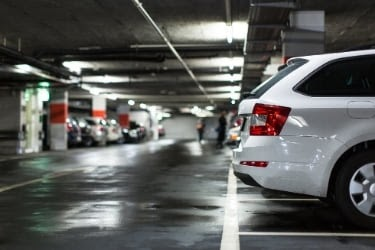 Cars parked in a parking structure