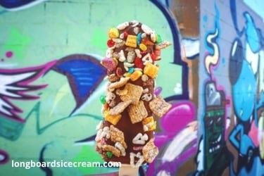Longboard ice cream pops with many toppings