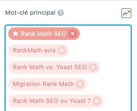 mot-clé principal rank math