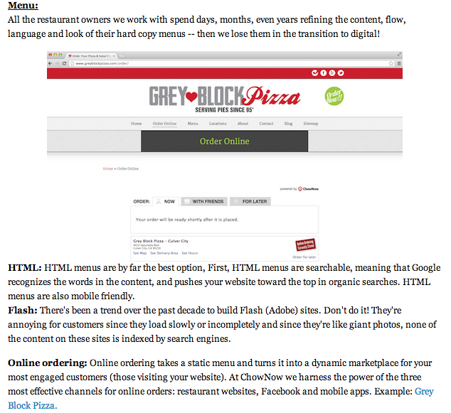 Grey Block Features in Huffington Post for Online Ordering & Menu