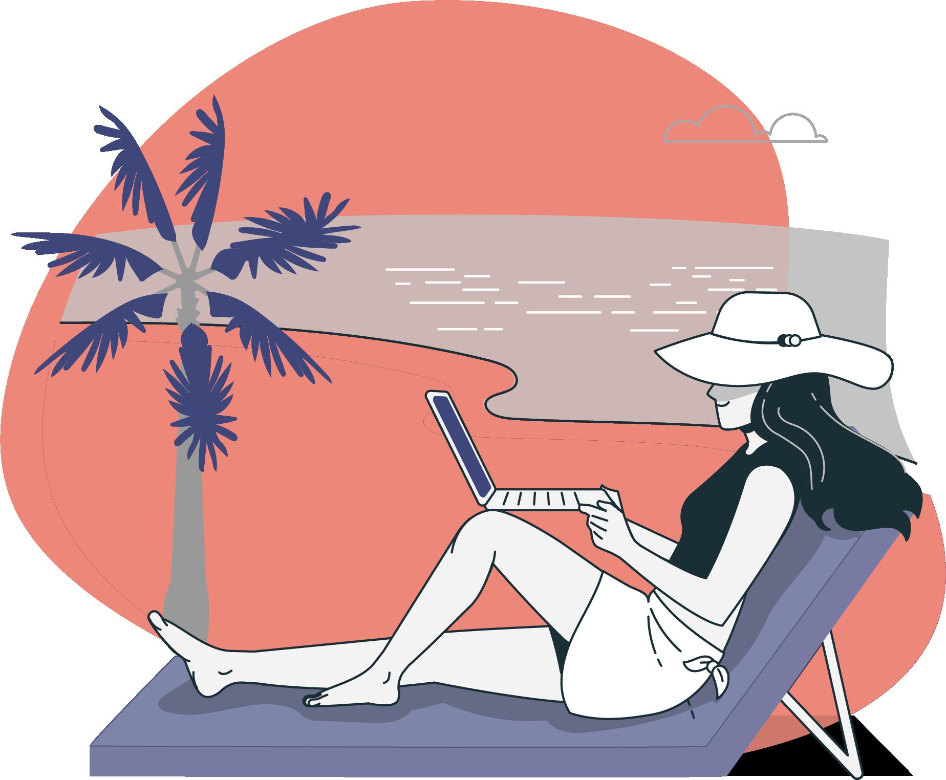 Grace à Remoters, une digital nomad travaille sur la plage