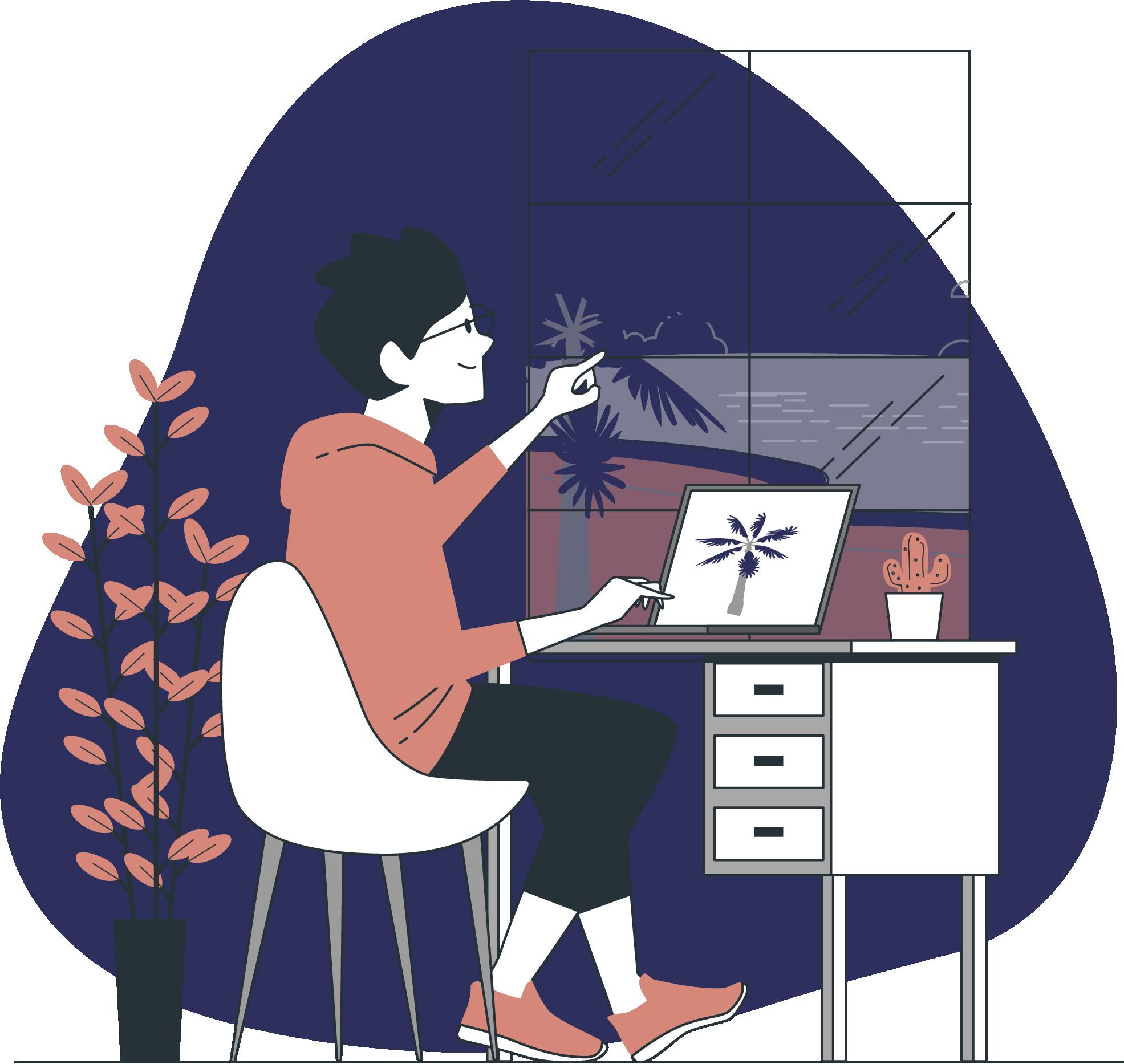 Digital nomad travaille sur son ordinateur depuis sa maison avec vue sur la mer