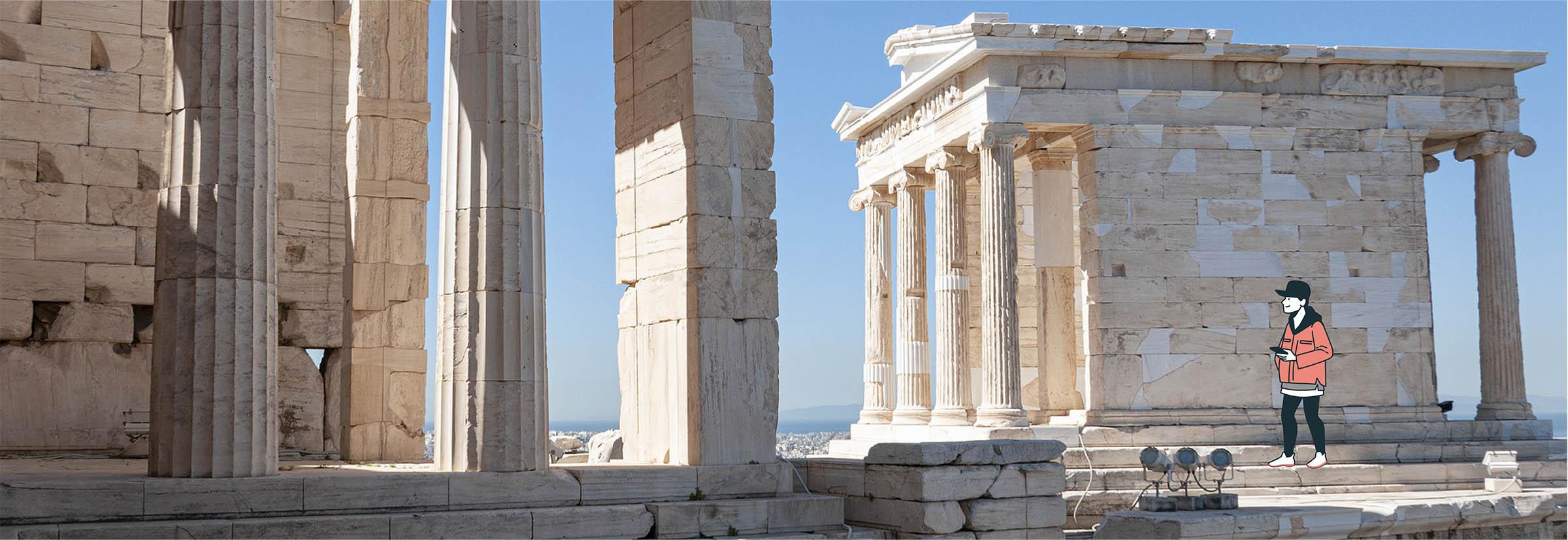 Digital nomad visite des ruines grecques