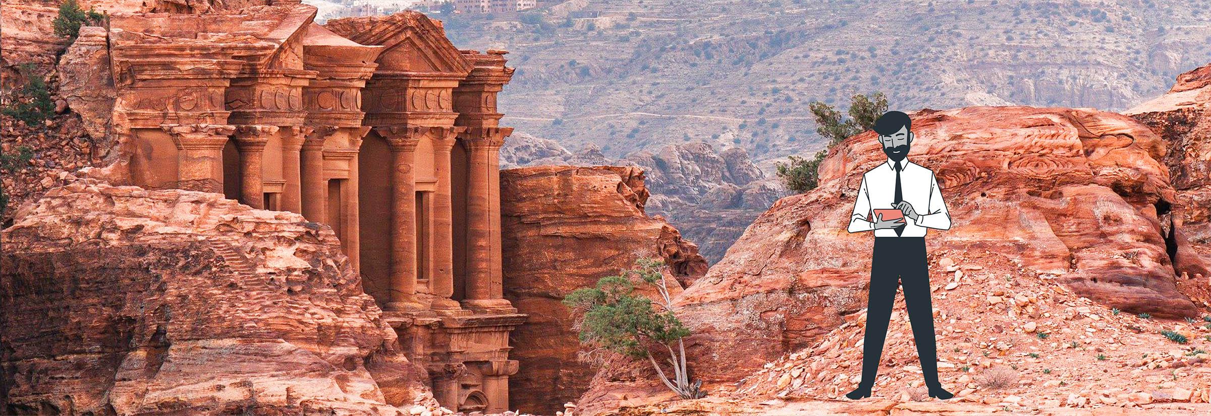 Digital nomad visite les ruines de Petra