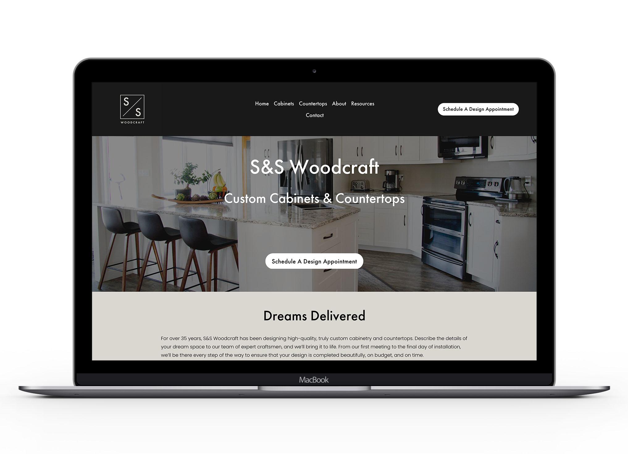 Mockup of S&S website homepage