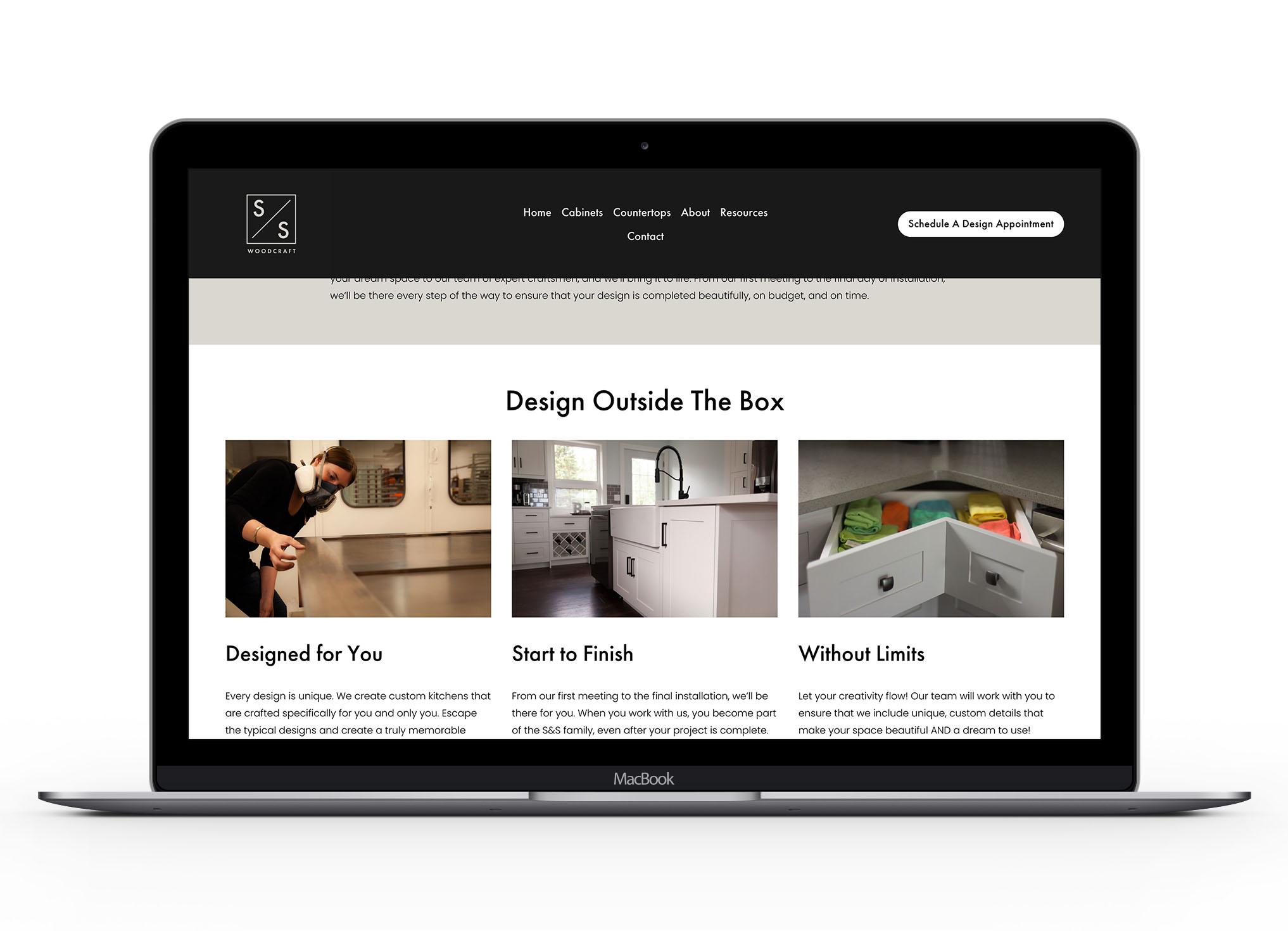 Mockup of S&S website 1
