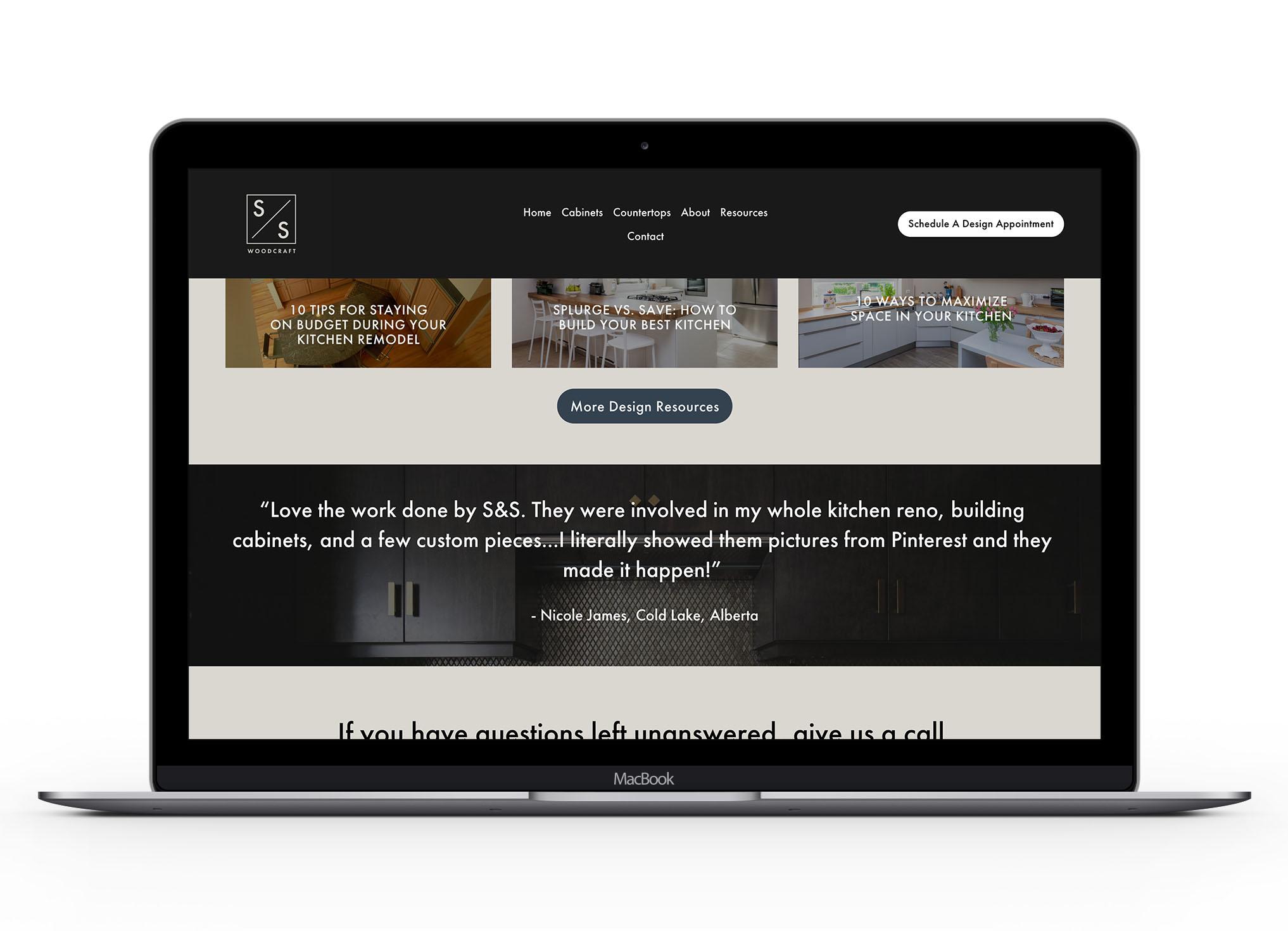 Mockup of S&S website
