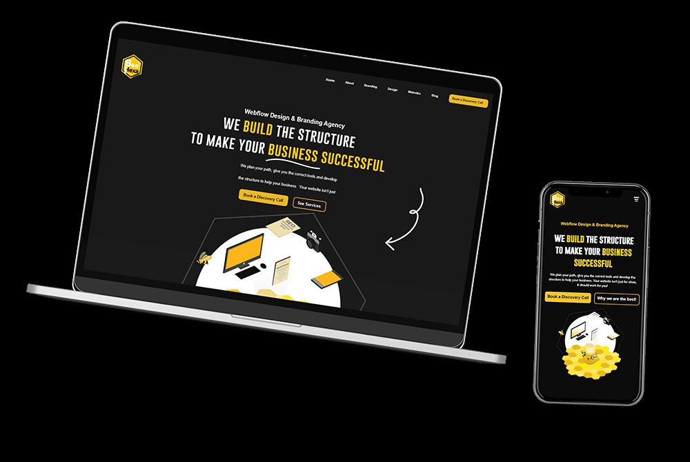 Laptop  and mobile showing Bee Hexa Branding Website Design