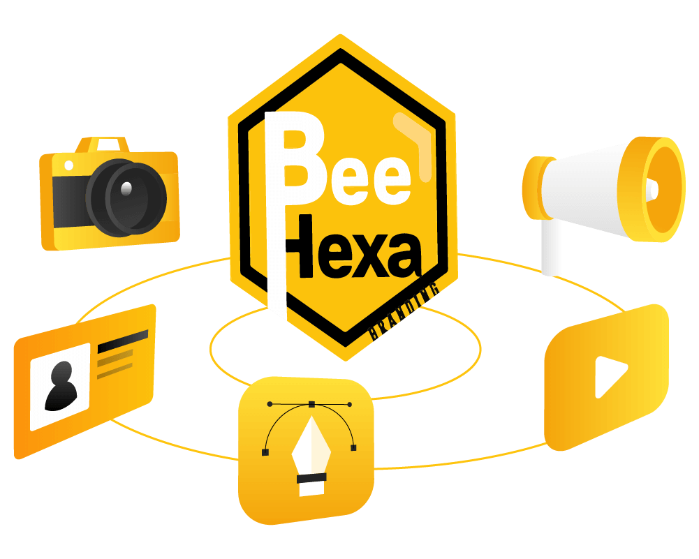 Bee Hexa Brand Illustration. Logo and Services.