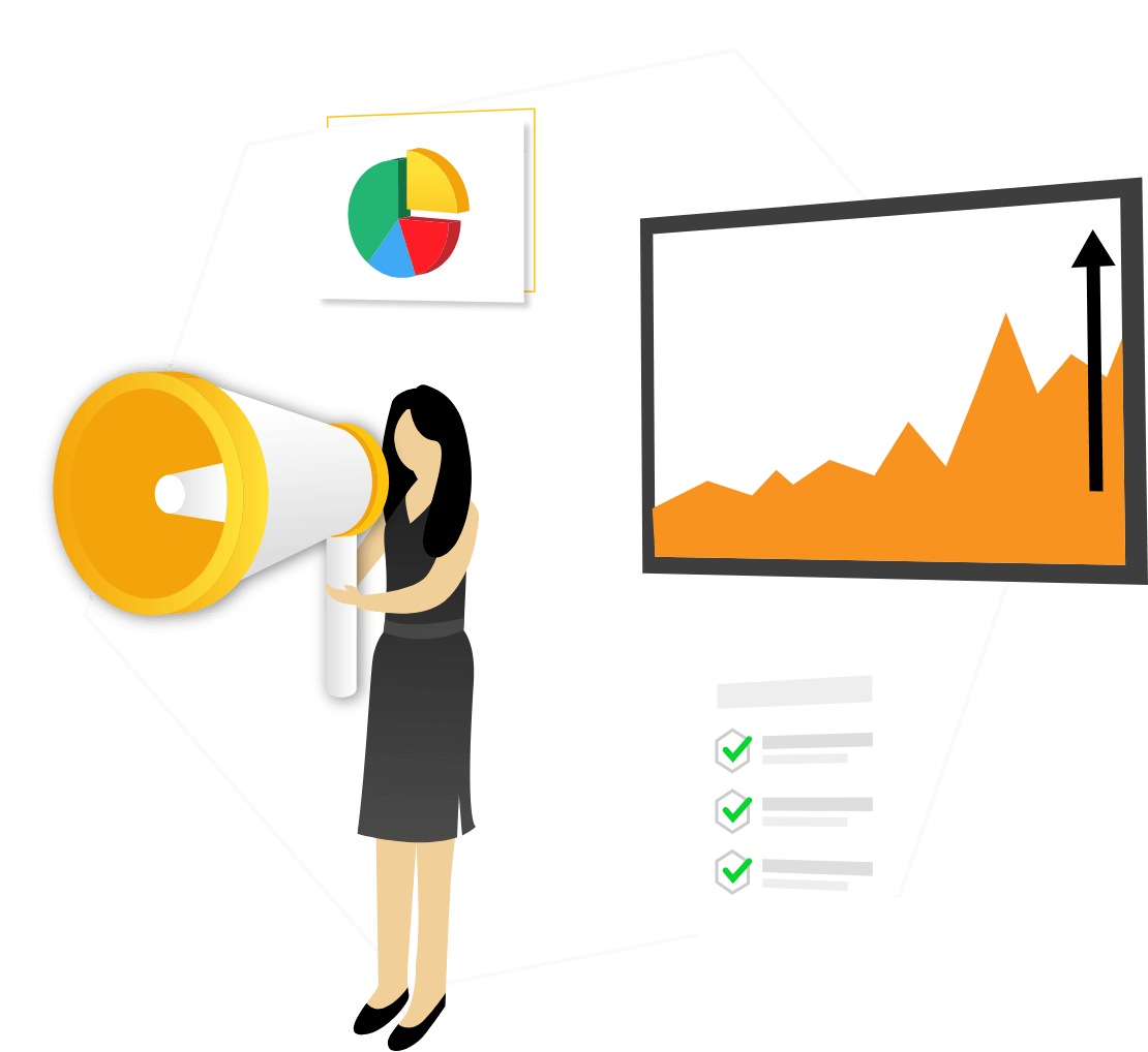 Illustration of branding consultant talking about branding and business data