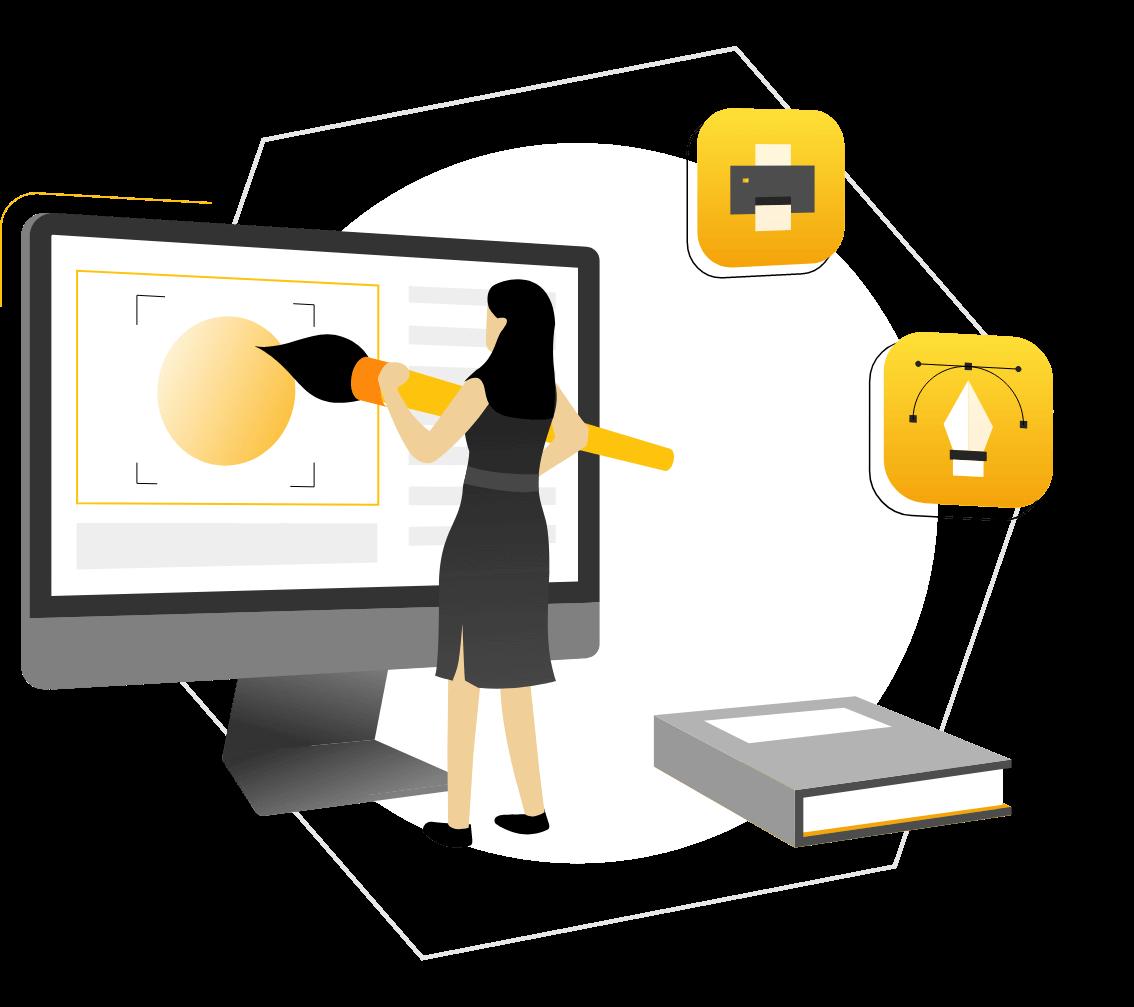 illustration of graphic designer designing in a computer