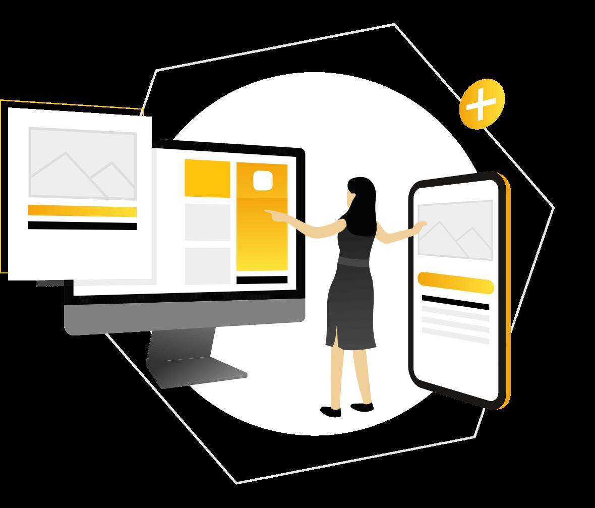Illustration of web designer creating a website in a computer