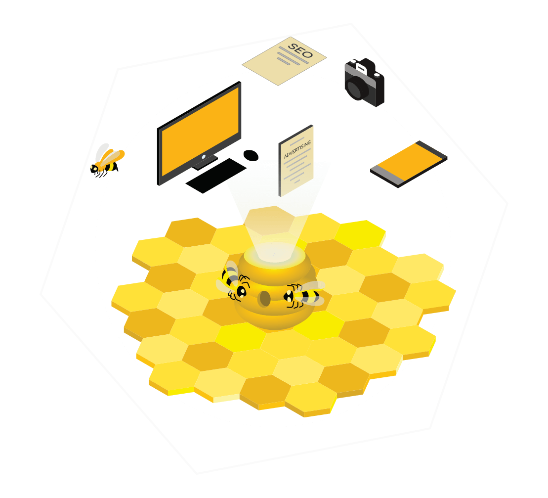 Bees working in a Branding Agency environment