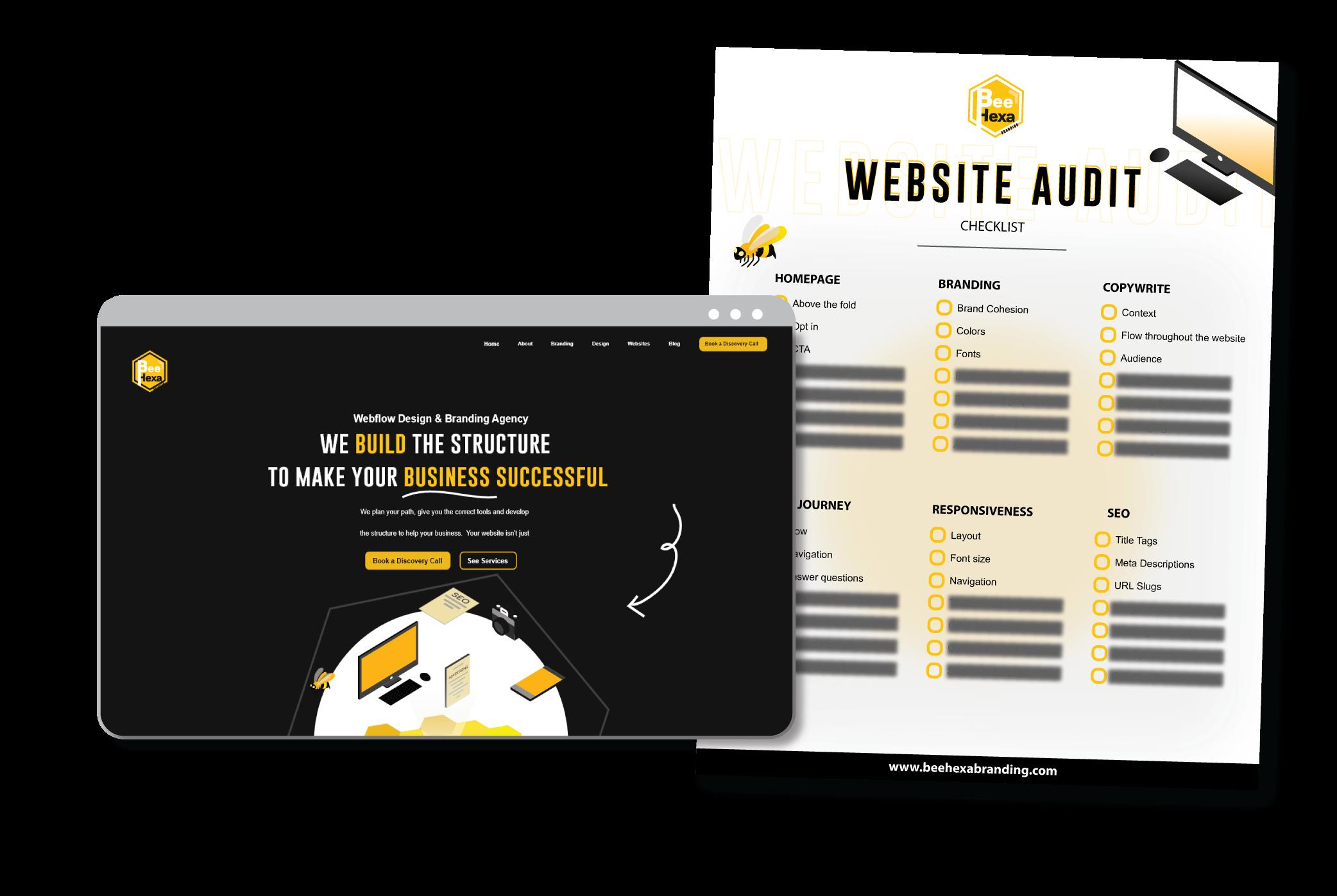 Website Audit Page hero showing Bee Hexa Branding Website and Audit Sheet