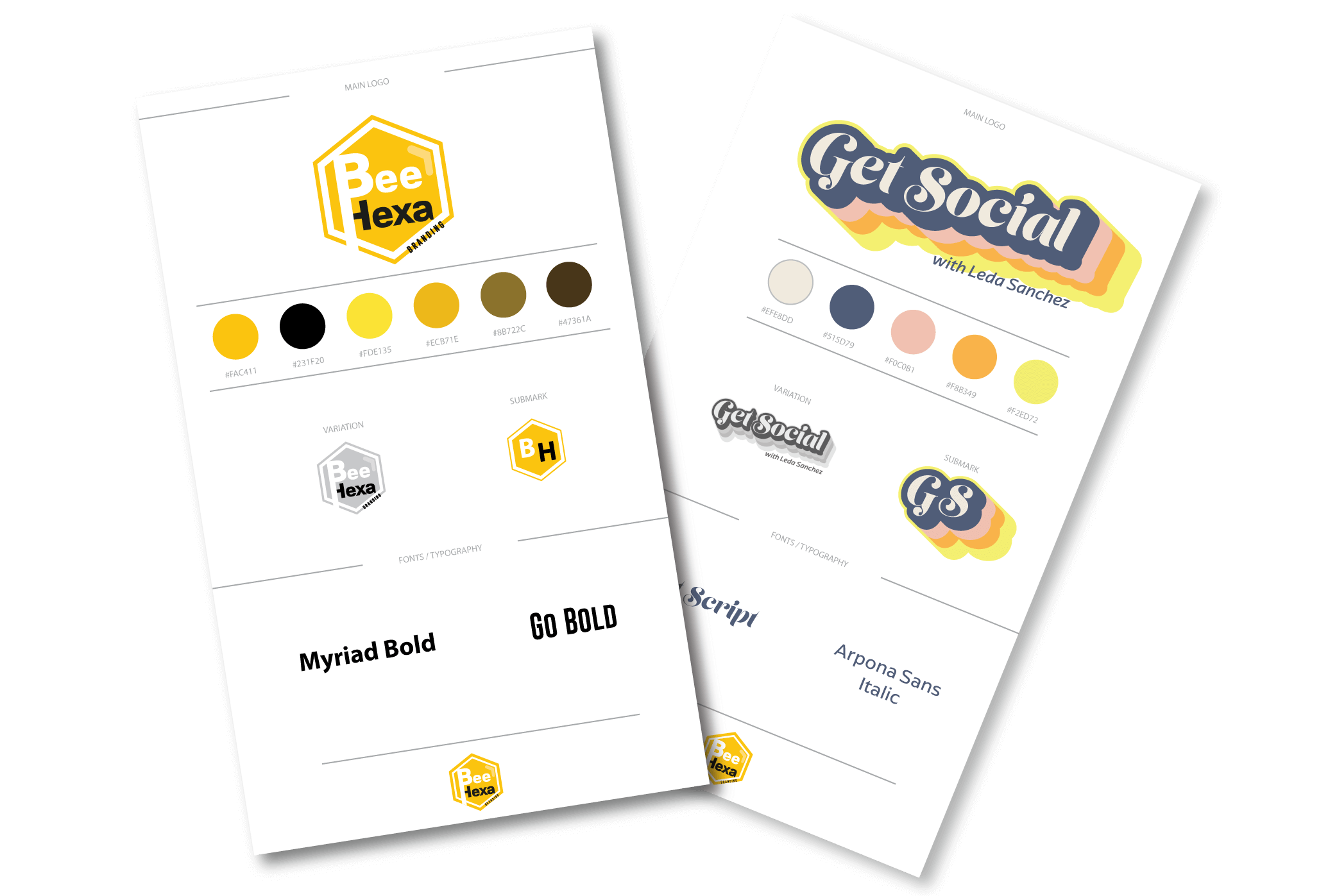 2 brand sheets of 2 different logos and brands