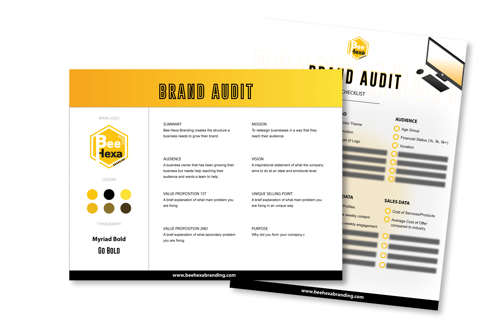 Brand audit sheet showing logo, color and a checklist