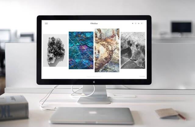 Desktop showing modern website design