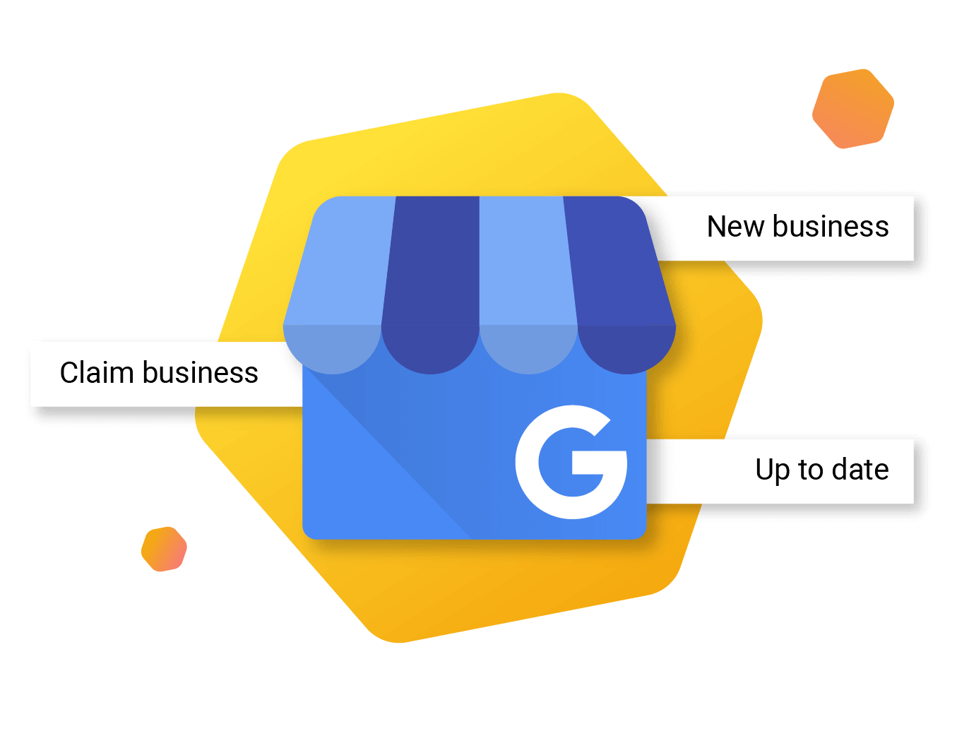 Local SEO GMB Logo with Creation and Claiming Signs Illustration