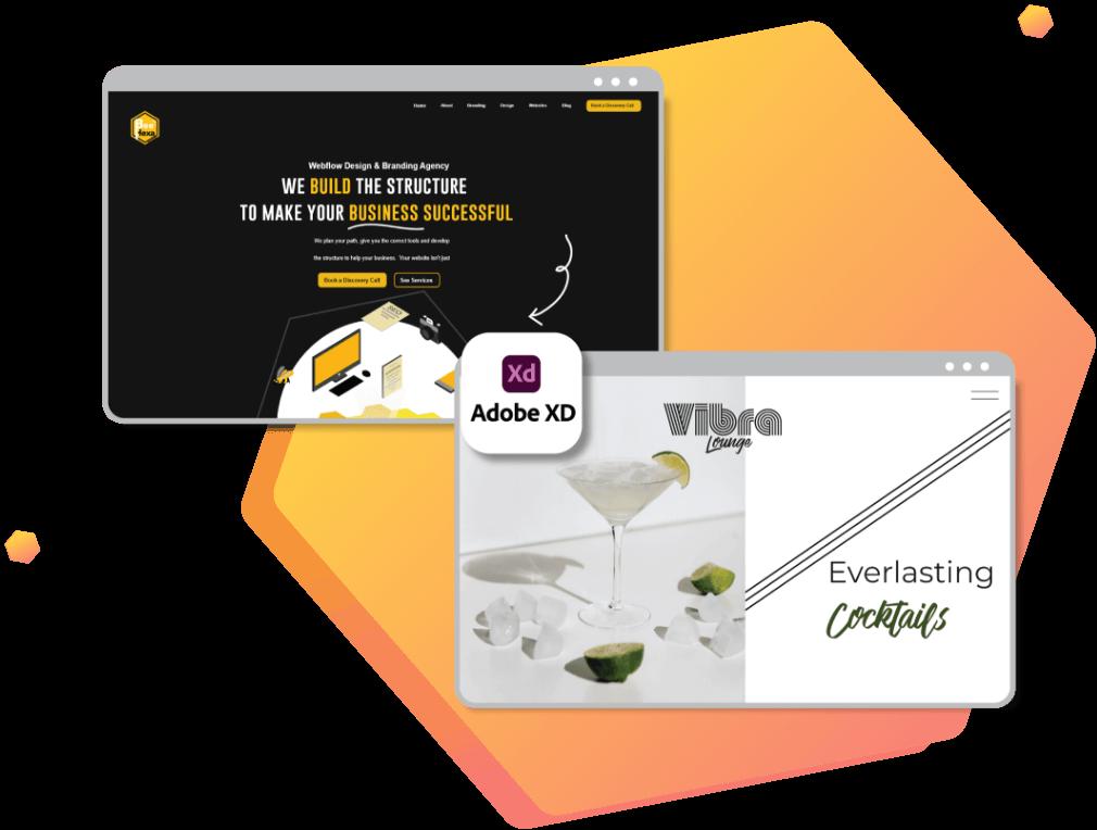 Website design of 2 brands done in adobe xd