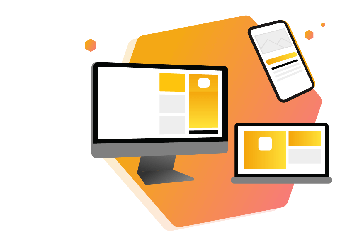 Website displayed in Desktop, Laptop and Mobile Devices Illustration