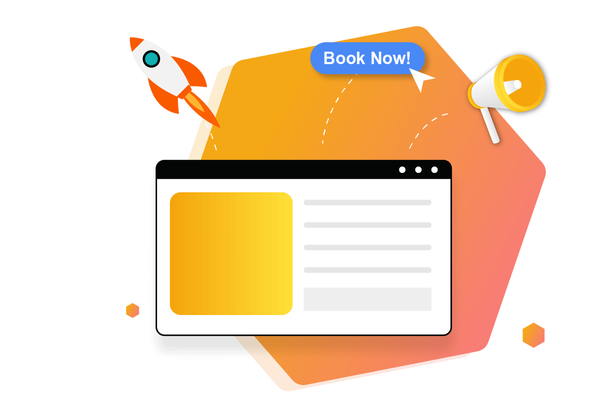 Website with Rocket, conversions and advertising illustration
