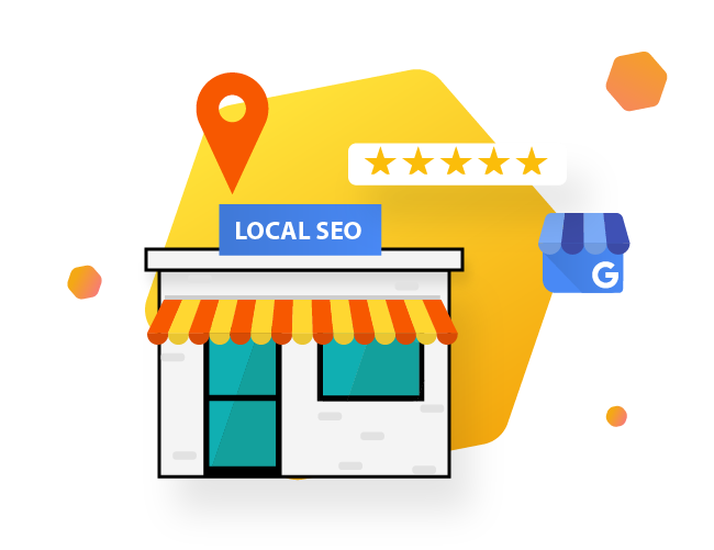 Local Business with SEO sign illustration