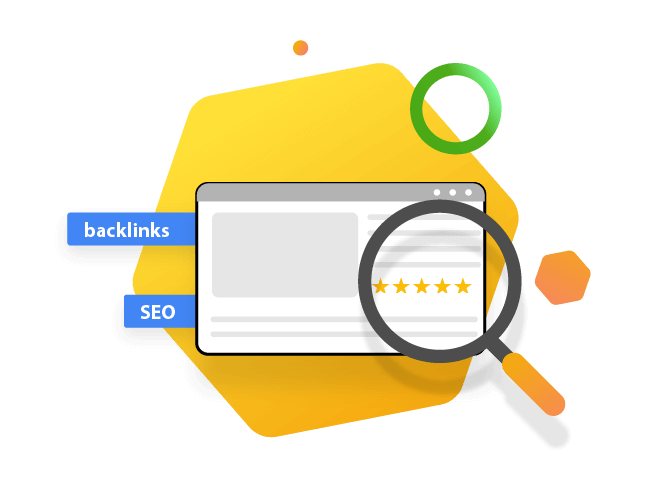 Website with magnifier looking at backlinks, reviews and SEO illustration