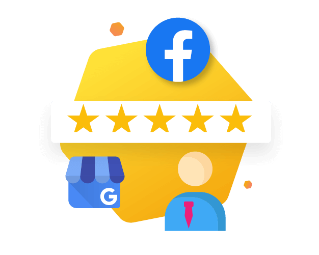Person analyzing Google my business and facebook reviews