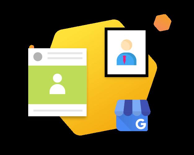 Google My Business Logo next to post and image optimization illustration