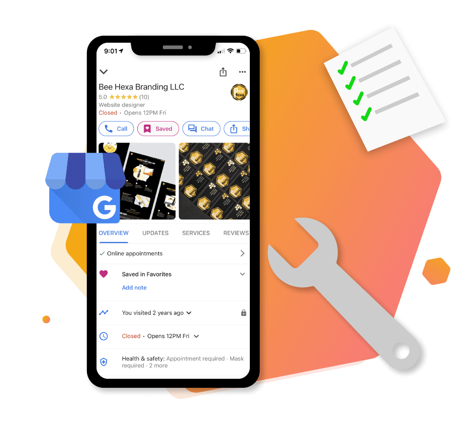 Google My business profile with GMB Logo, Checklists and optimization illustration