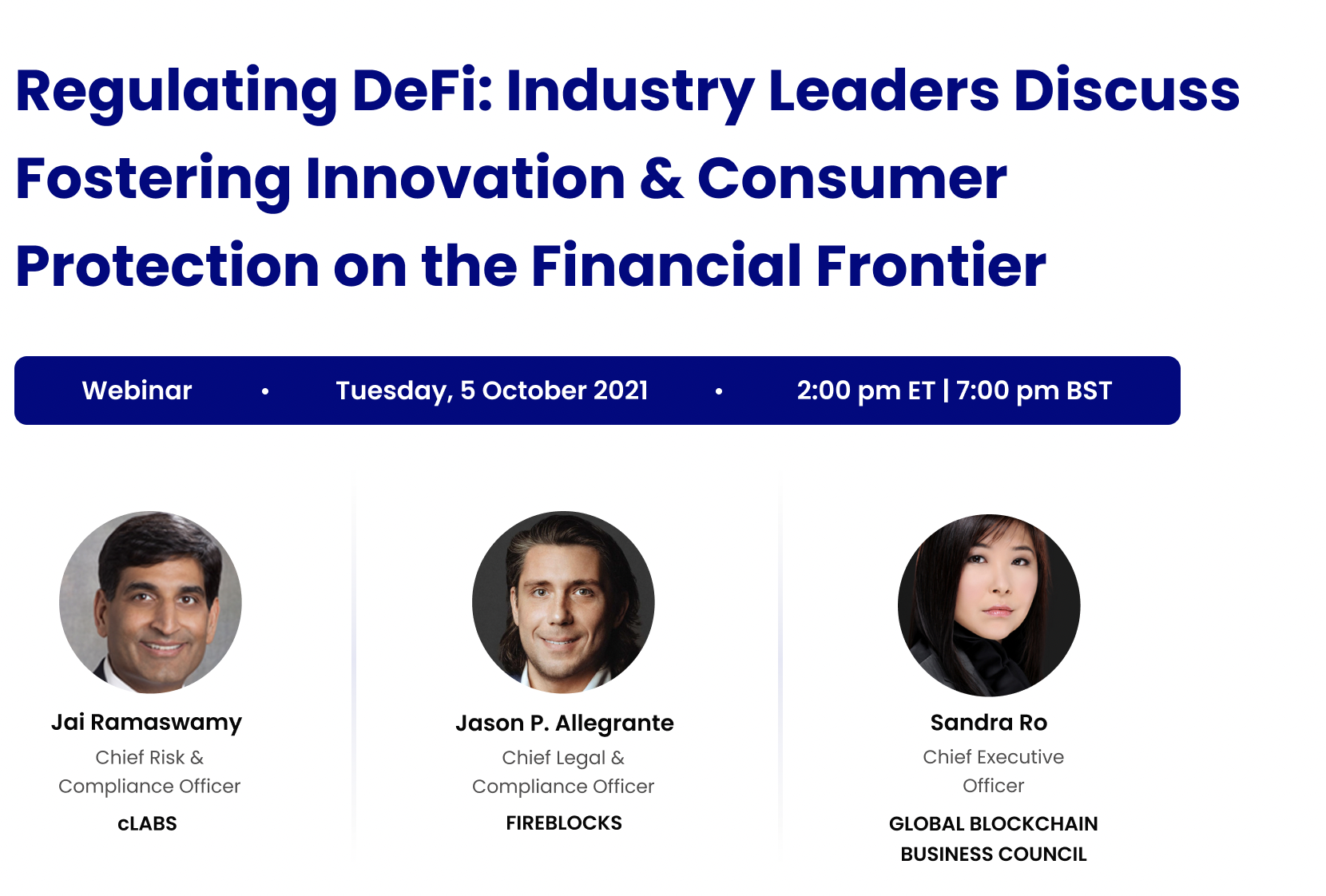 Regulating DeFi - Industry Leaders Discuss Fostering Innovation & Protecting Consumer on the Financial Frontier