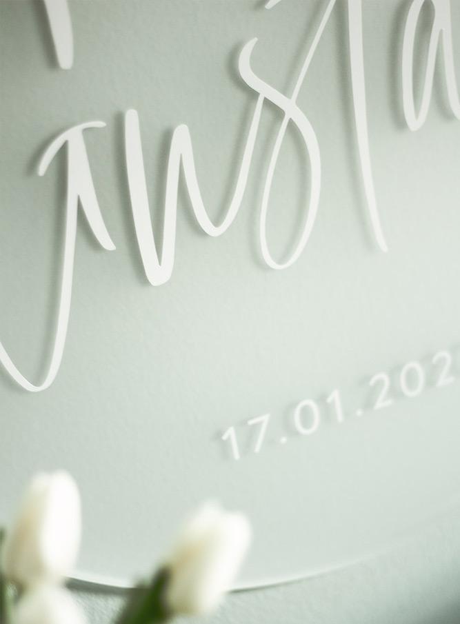 Moderne Geburtstafel für Jungs und Mädchen aus Acrylglas