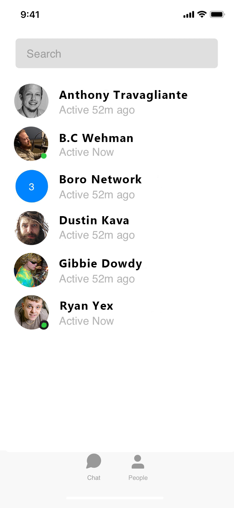 A contact list of hosts on the Wayward Media Network