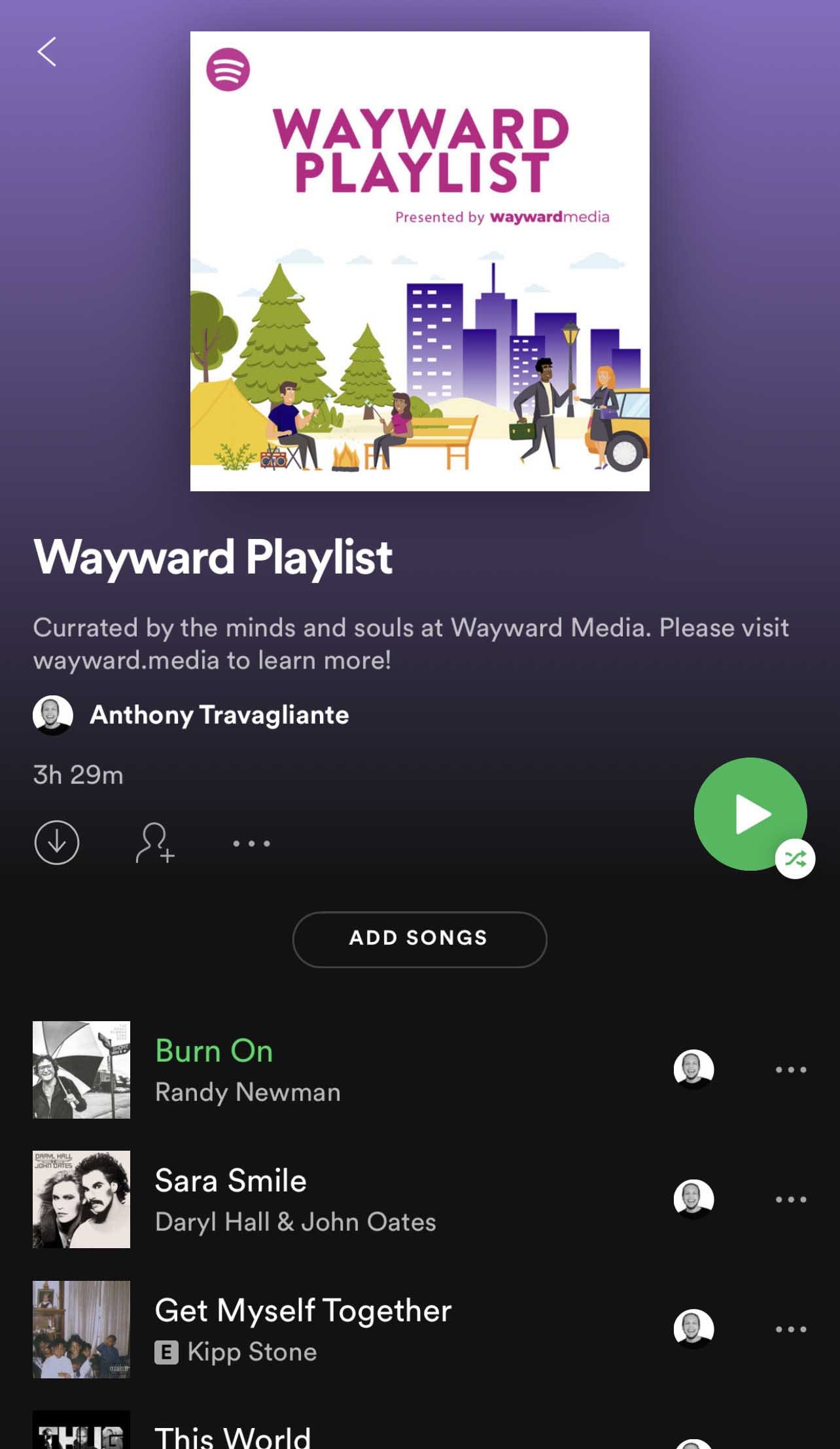 A playlist of enjoyable music on Spotify curated by Wayward