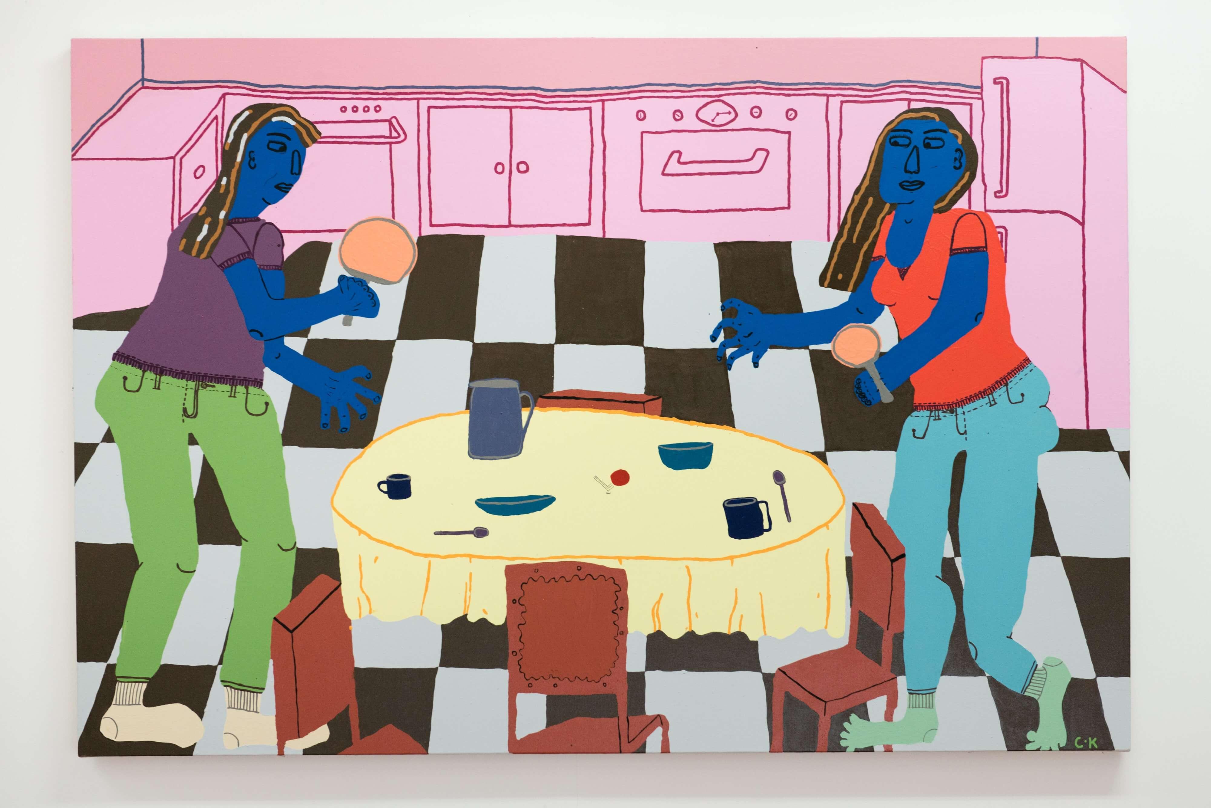 Claudia Kogachi. Table Tennis (2018). Acrylic on canvas. Courtesy of the artist.