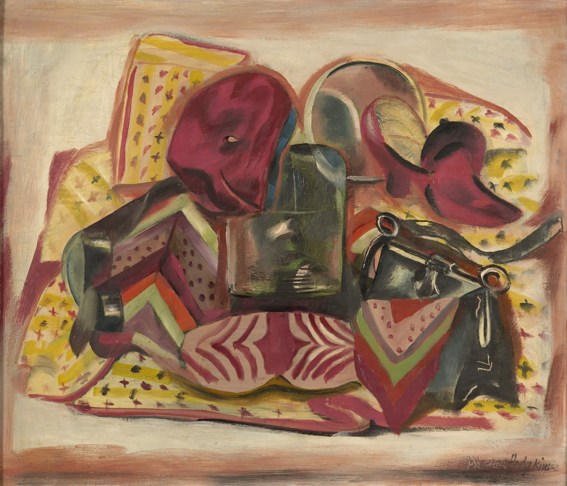 Frances Hodgkins, Still life: Self-portrait, about 1935, oil on panel. Purchased 1999 with New Zealand Lottery Grants Board funds. Te Papa