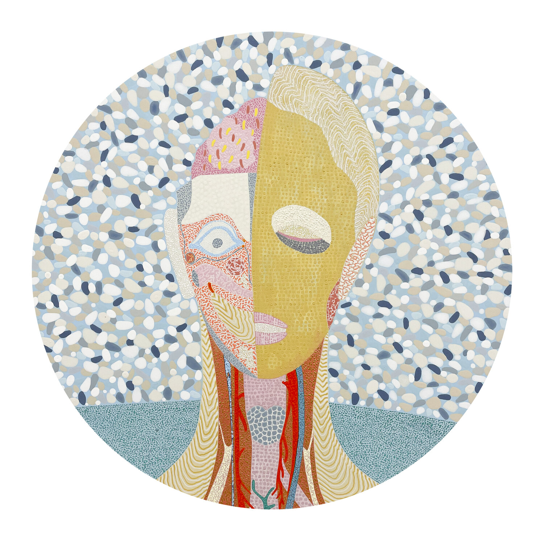 Arie Hellendoorn, Untitled Anatomical head, 2021, acrylic on board, 400 mm diameter.