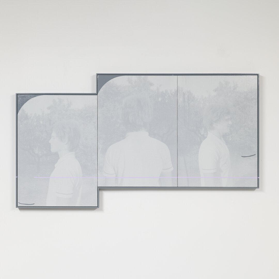 Simon Attwooll, Three views of a Hungary Man, 2021, acrylic and screenprint on ACM panel, 680 x 1220 mm.