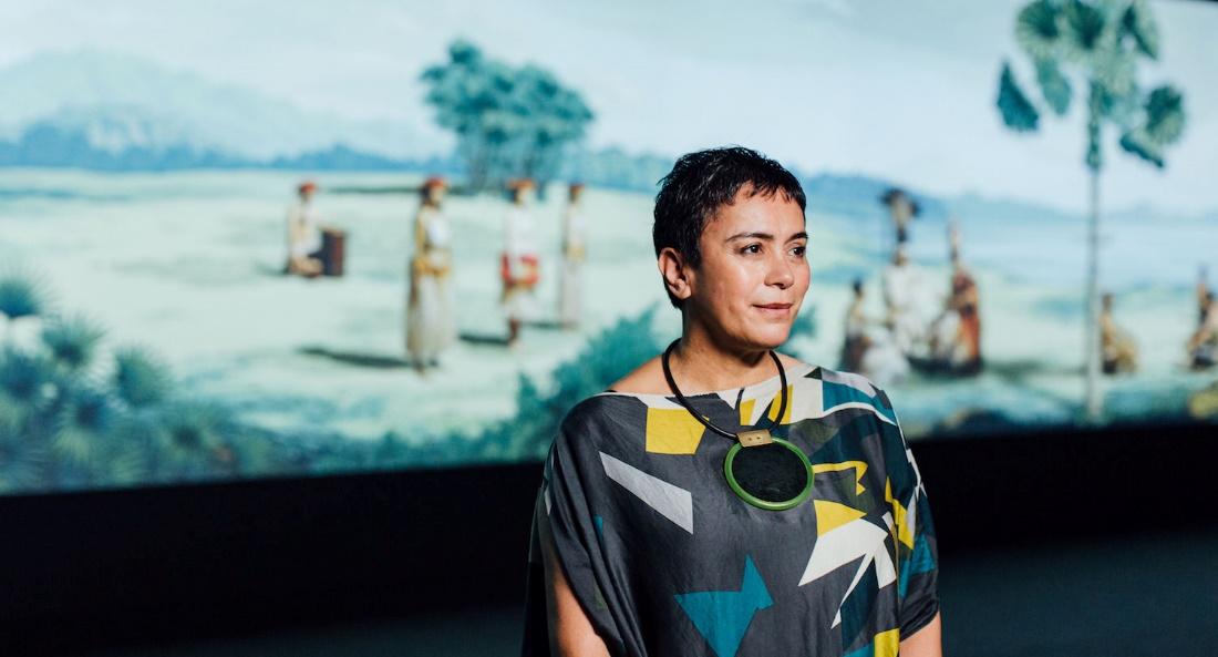 Lisa Reihana in conversation with Kiingi Tuheitia Portraiture Award winner