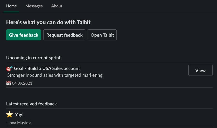 talbit slack app home screen
