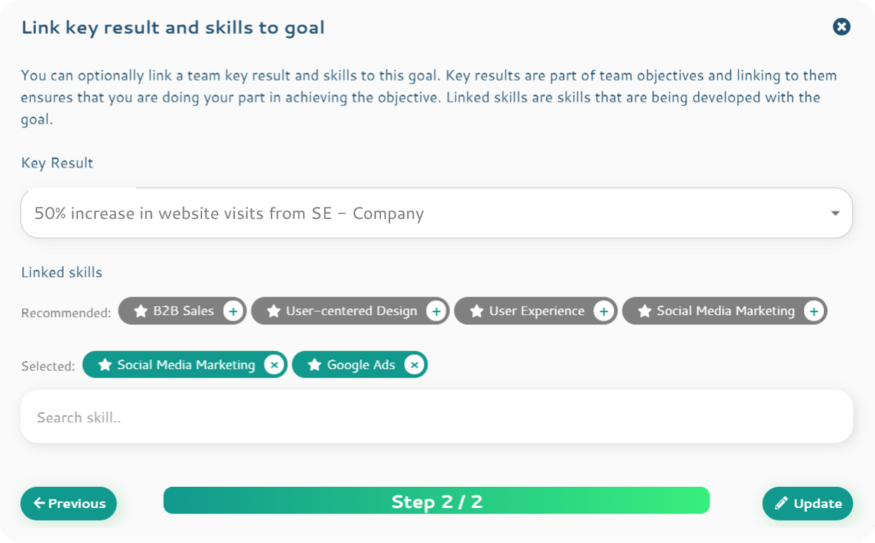 key result skills goal