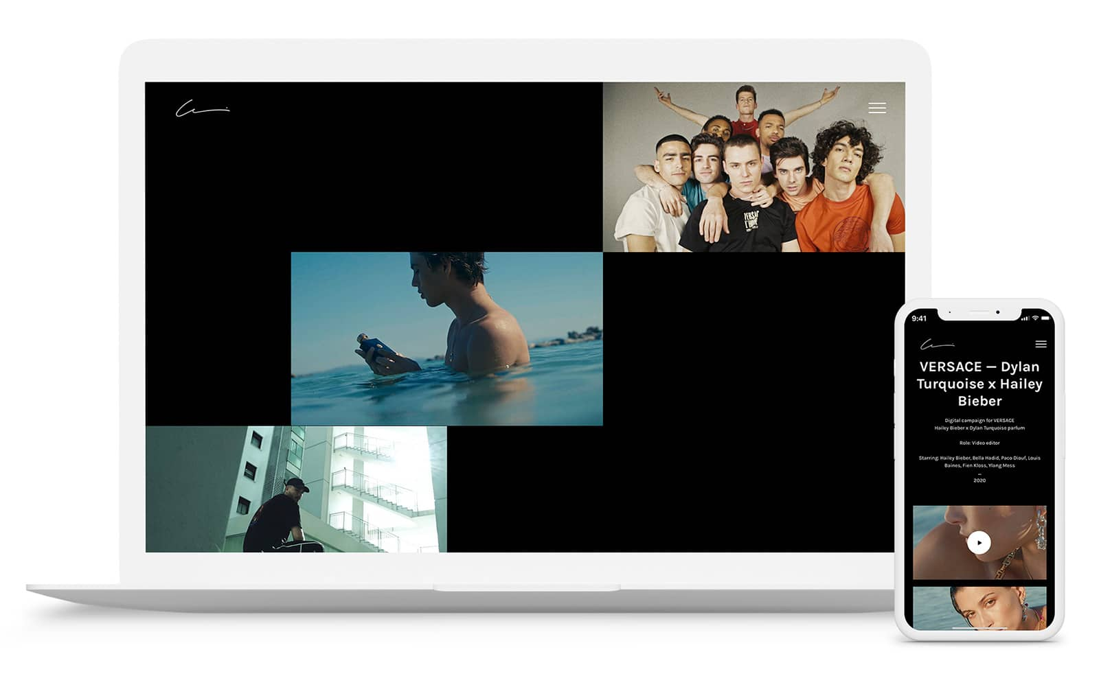 Vsble videography website design preview for desktop and mobile devices.
