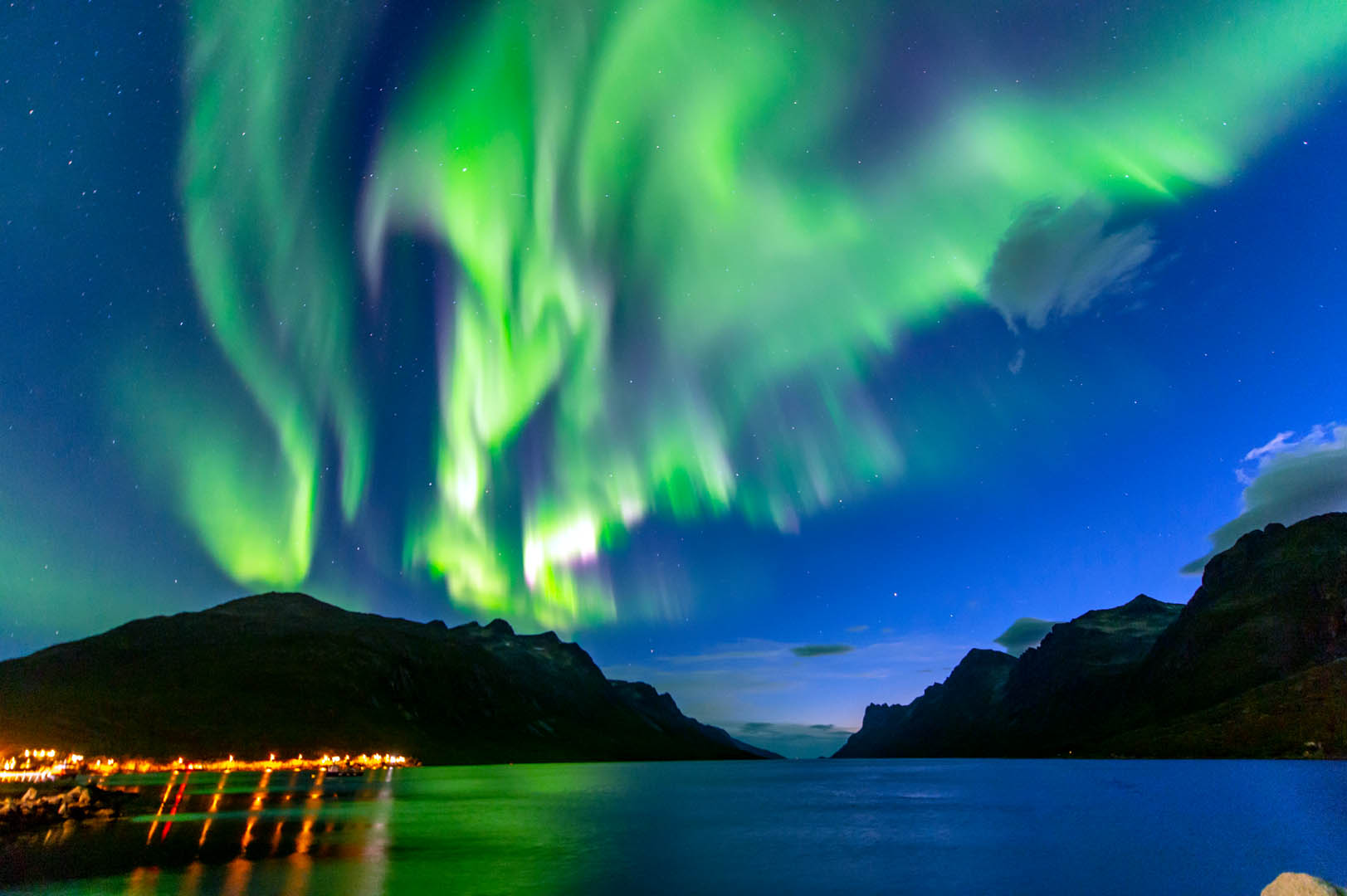 Picture of the northern lights in Tromsø, Norway.
